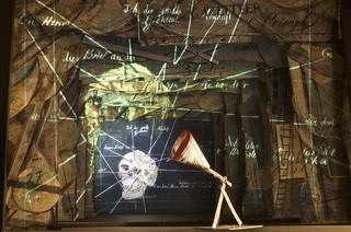 Installation view of Black Box/Chambre Noire, miniature theatre (detail), William Kentridge