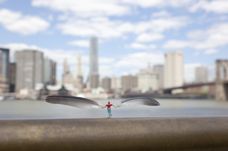 Skyscraping. Brooklyn Bridge Park, New York, USA.,Slinkachu