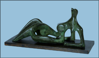 Henry Moore: Working model for 'Reclining figure: Festival', 1950. Bronze with green patina: 16. in / 42.5 cm length , Henry Moore