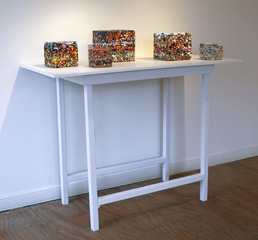 Installation shot of Morphed: paint chip cubes ,Kris Scheifele