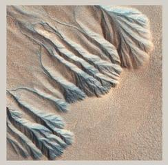 Gullies, Sisyphi Planum, Mars, image covers about 1/2 km, (From the Earth and Mars Series), Stephen Strom