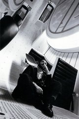 Stanley Kubrick in the interior of the space ship &quot;Discovery, 2001: A Space Odyssey (2001: A Space Odyssey, GB/United States 1965-68) ,