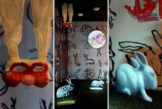 """Lunar Rabbit, exhibition at Luceplan. , Joan Jonas"