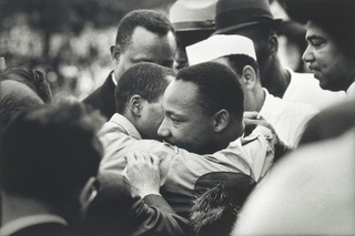 March On Washington. Martin Luther King Jr. moments after delivering his \'I HAVE A DREAM\' speech, Lincoln Memorial,Dan Budnik