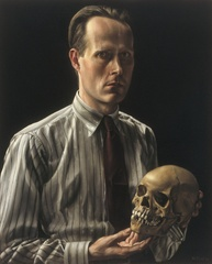 Zelfportret met schedel,(Selfportrait with scul) , Carel Willink