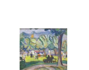 Fletcher\'s Field (recto); untitled [study of birch trees] (verso), Anne Savage