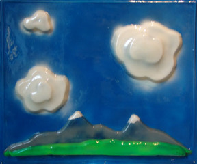 Mountain Landscape with 3 Cumulus Clouds,IAIN BAXTER&