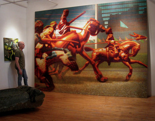 Studio view of Four Riders, Peter Drake