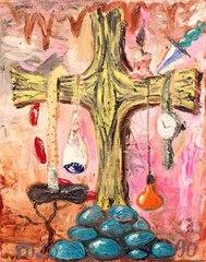 Kitsch Effluvium Sui Generis: The Crucifixion, style 1953, Manuel Ocampo