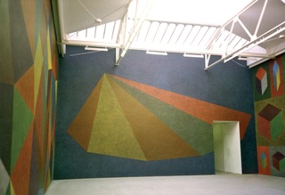 Wall Drawing #770: Asymmetrical pyramid with color ink washes superimposed, Installation view Renn Espace, Paris, Sol LeWitt