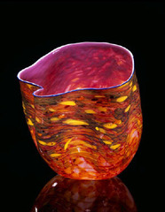 Mauve Macchia with Cobalt Blue Lip Wrap, Dale Chihuly
