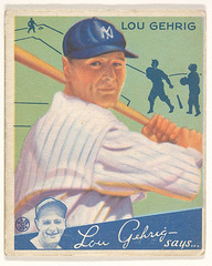 Lou Gehrig, New York Yankees, from the Big League Chewing Gum series (R320) for the Goudey Gum Company,