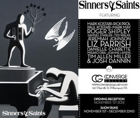 Sinners and Saints at Converge Gallery, Jeffrey Allen Price, PAUL KOSTABI, Mark Kostabi, Rick Prol, Jeremiah Johnson, Misako Oba, Danielle Charette, Liz Parrish, Mark May, Roger Shipley