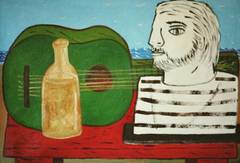 Green_guitar_and_sculpture_26x18_acrylic_on_canvas