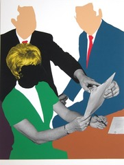 Three Government Personnel Considering and/or Deciding, John Baldessari