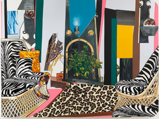 Interior: Zebra with Two Chairs and Funky Fur, Mickalene Thomas