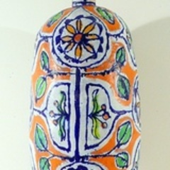 Large Orange and Gold Flower Bottle,Elisabeth Kley
