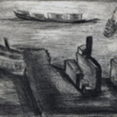 Untitled (Harbor Scene with Ferry), Bea Mandelman