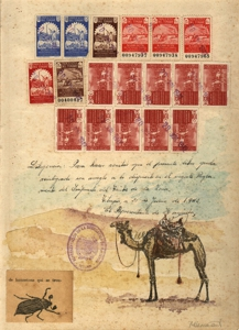 Document_camel_and_dung_beatle__mixed_media