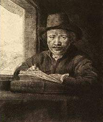 Self-Portrait Drawing at a Window, ,Rembrandt van Rijn