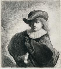 Zelfportret met hoed met slappe rand en geborduurde mantel, Rembrandt van Rijn
