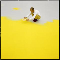 Wolfgang Laib sifting hazelnut pollen ,