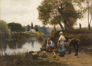 Waiting for the Ferry,Daniel Ridgway Knight