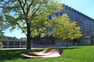 "A fragment of Danh Vo's ongoing project ""We The People""--full-scale replicated pieces of the Statue of Liberty--is positioned outside the University of Chicago Law School,Danh Vo"
