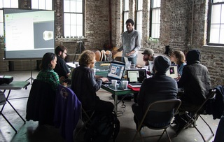 dirtynewmedia working group meets at High Concept Labs, Chicago. Gli.tc/h 2112,