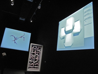 Installation view of Social Object Sculpture and Software two real time software pieces plus Alpha Pipe , Michael Rees