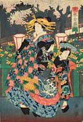 Geisha with Maid in Garden by Lantern Light, Toyokuni Utagawa