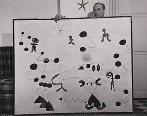 Joan Miro With Painting, Sanford Roth