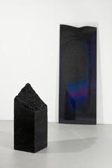 Background: Untitled (sand rotation); Foreground: Untitled (sand column), Lisha Bai
