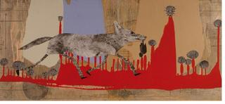 Coyote with Thistles ,Holly Roberts