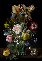 Still life with a Bouquet of Flowers in a Glass Vase on a Table with a Tulip and Worms  (#3),