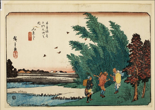 A Priest Asking Directions from Some Locals The Sixty-nine Stations along the Kisokaid! series, Utagawa Hiroshige