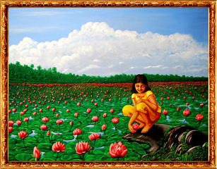 GIRL AT THE LOTUS POND (SAVE NATURE SAVE OUR CHILDREN), C.N. PREMKUMAR