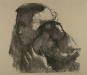 Junge Mutter, mit der Linken das Kind haltend, Hans Theo Richter