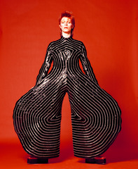 Striped bodysuit for Aladdin Sane tour , Masayoshi Sukita