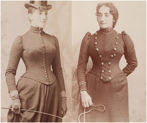 LEFT TO RIGHT: Etta Cone at age 18-19 wearing a riding outfit, late 1880s; Claribel Cone as a resident physician at the Philadelphia Hospital, approximately age 27, circa 1891-1892. ,