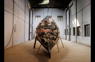  Subodh Gupta\'s artwork at the Kochi Muziris Biennale ,