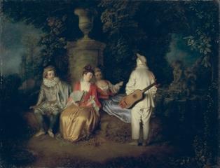 La Partie Quarrée (detail), Antoine Watteau