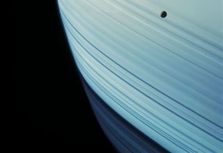 Mimas Transits Saturn's Ring Shadows, Cassini,  , Michael Benson