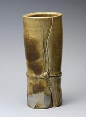 Bamboo-shaped vase, Yûgen (Mysterious) Ki-seto (yellow)  , Arakawa Toyozô
