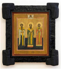 Russian icon St. Basil the Great, St. Gregory the Theologian, St. John Chrysostom,,