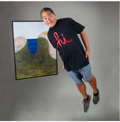 Artist John Koga with one of his paintings. ,