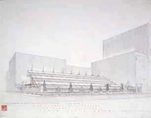 Sixty Years of Living Architecture Exhibition Building(demolished), New York. Perspective (presentation drawing) , Frank Lloyd Wright