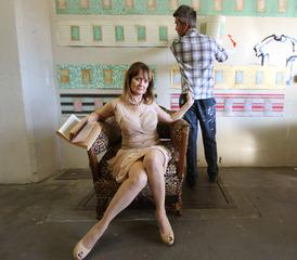 Co-curator Joan Aarestad and artist Tim Youd,