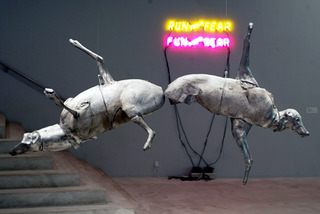 Installation View (Large Butt to Butt and Run from Fear), Bruce Nauman