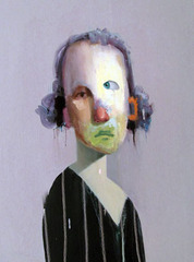 Untitled Portrait with Orange Ear and Purple Drip, Ed Valentine